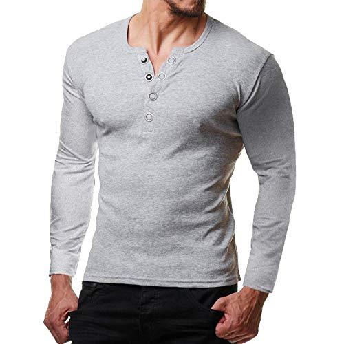 Herren Oberteile,TWBB Herbst Winter Einfarbig Pullover Mit Knopf Sweatshirt Lange Ärmel Shirt Blusen Casual