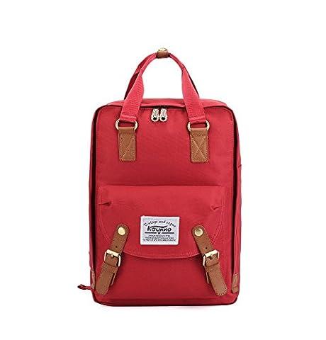 KAUKKO Sac a dos cartable scolaire Sac à dos de voyage randonnée loisir pour 2 Way Carry avec une grande capacité Rouge01