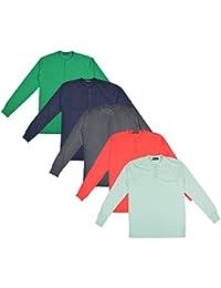 Pintapple Men's Full Sleeve ComfortSoft Cotton Henley Neck T-Shirt - Pack Of 5