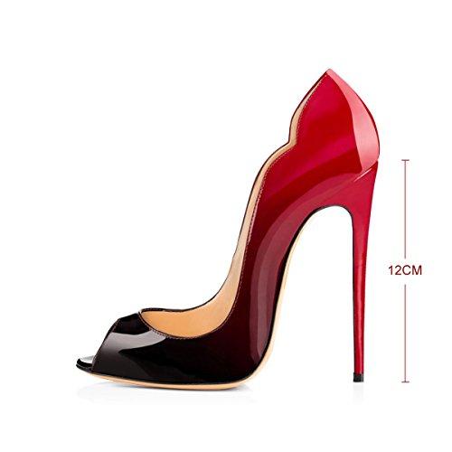 Bombas Feminina Deslizamento De Abertas Moda Alta Conforto Senhora Do De Dedo Vermelho em De Pé E Livre Extremo Agulha Salto Preto Sapatos qEddAfwO