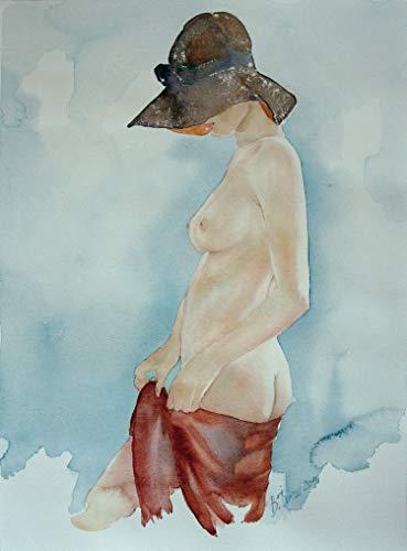 Unbekannt Original Aquarell erotisches Gemälde weiblicher Akt nackte Frau Gemälde Malerei Painting by B. IVKOV handgemalt Kunst Bilder Malerei