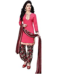 Shree balaji's women cotton unstitched dress material with dupatta red