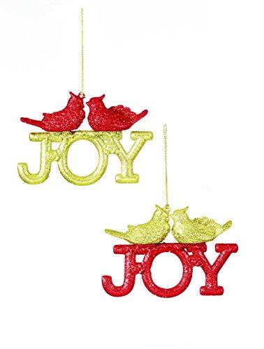 Confezione da 8–11cm rosso glitterato 'joy' albero trim con scintillante oro uccelli attaccato–decorazioni dell' albero di natale