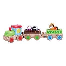 Bambini giocattolo in legno da spingere Farm treno con animali di Jumini®