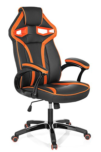 hjh OFFICE 722220 Gamingstuhl GUARDIAN Kunstleder Schwarz/Orange Racing PC Drehstuhl mit Wippfunktion