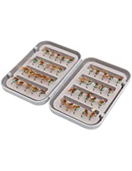 MagiDeal 40pcs Señuelos Caja Impermeable De Mosca Ganchos de Pesca Accesorios Deportes - Verde, 11,5 x 8 x 2,5 cm