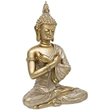 Maturi Confidence in Self Hands Crossed Buddha with Glitter Effect, Gold, 36cm / 14-inch