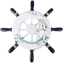 (Dia. 32cm) Timone Barca Decorativo in Legno Stile Mediterraneo per Decorazione Parete Casa Feste Tema Marino Nautico Mare