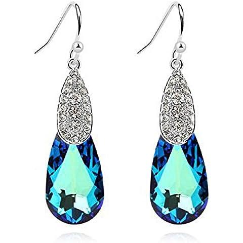 Elements-Orecchini con cristallo Swarovski blu zaffiro, placcati oro bianco, 18 k, idea regalo per donne e ragazze, In confezione regalo