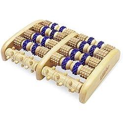 ULIKE Massager à pieds roulés en bois Outils de réflexologie pour la douleur au pied, soulagement des pieds démangeaisons et cadeau gratuit - Tableau de réflexologie au pied thaïlandais