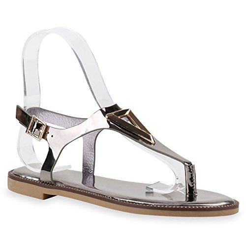 Damen Sandalen Zehentrenner Metallic Strass Flats Schuhe Grau Metallic Lack