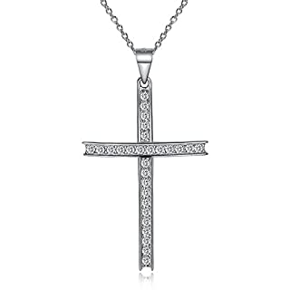szkmt 925Sterling Silber Kreuz Halskette für Frauen mit AAAAA Cubic zirconia-40+ 5Extender