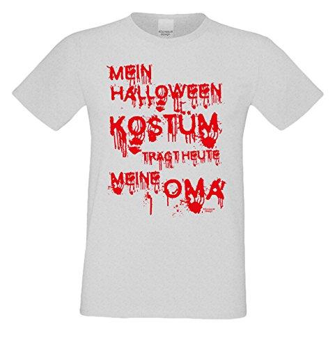 Grusel-T-Shirts Herren FunMotiv Mein Halloween Kostüm trägt heute meine Oma Geschenk-idee Party-Outfit Kostüm Hexen Geister Farbe: grau Gr: (Halloween Oma Ideen Kostüme)