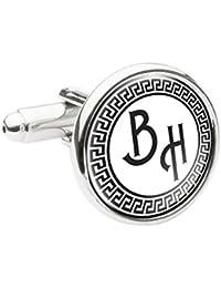 Personalised Monogram Initial Greek Style Round Cufflinks