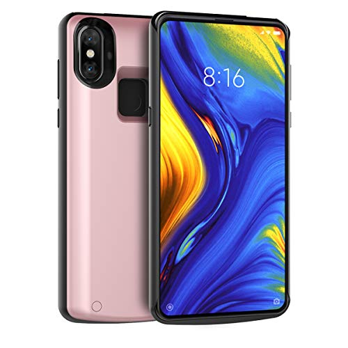 Banath Akku hülle Kompatibel mit Xiaomi Mi Mix 3, 5000mAh Ultra dünnes Akku Case Handyhülle[Stoßfest][Anti-Kratz][Ganzkörperschutz] Extern Akkupack Power Bank Backup Cover(Rose Gold) 686-mix