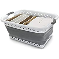 Denny International Folding collapsible Laundry Oval Basket House Washing Cloth Space Saving Storage Bucket