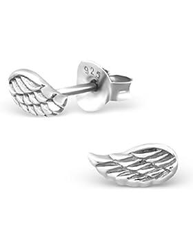 Unbespielt Schmuck Ohrschmuck Ohrringe Silber 925 Ohrstecker Engelsflügel klein für Damen oder Kinder 7 x 4 mm...