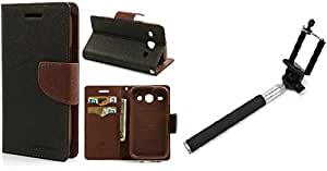 Generic Goospery Mercury Diary Flip Cover for Micromax Bolt Q331 (Brown) With Aux Selfie Stick