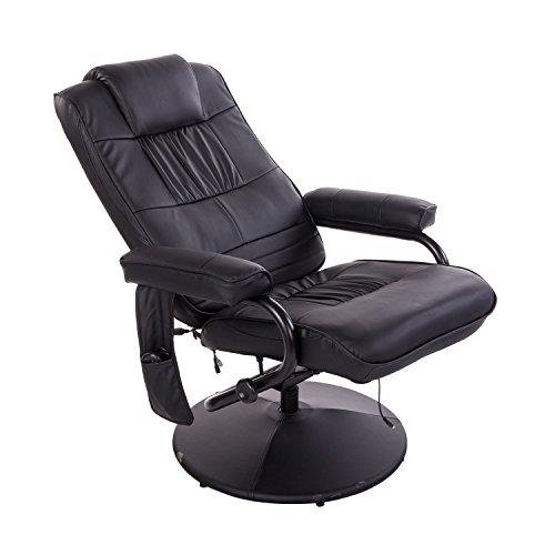 Homcom 921-006BK Massagesessel, Lederimitat, schwarz, 77 x 73 x 95 cm -