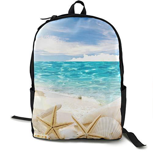 MGTXL Sac à Dos personnalisé Beach Sand Shells White Starfish Travel and Outdoor Sports Durable