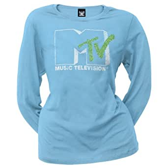 Old Glory - MTV Icons & Shows - Womens Logo Juniors Long Sleeve X-Large Light Blue