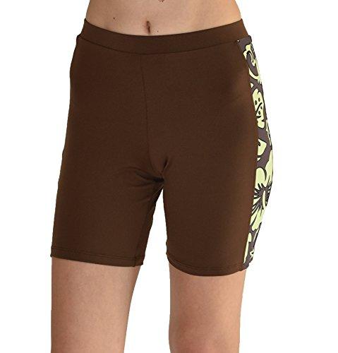 Private Island Hawaii Shorts /Rashguard für Damen, UV-Schutz, schmaler Schnitt XXL Brown with Green -