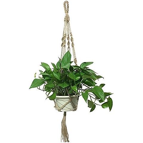 G2Plus Planta de macramé percha 4patas Retro–Soporte para maceta con cuentas de madera Lovely maceta colgante hecha a mano Cuerda de Yute para Spider Planta Ivy para interiores y