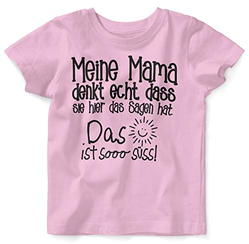 Mikalino Baby/Kinder T-Shirt mit Spruch für Jungen Mädchen Unisex Kurzarm Meine Mama Denkt echt | handbedruckt in Deutschland | Handmade with Love, Farbe:rosa, Grösse:56/62