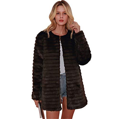 Festnight cappotto da donna in soffice pelliccia sintetica tinta unita giacca pelosa autunno inverno caldo manica a strisce