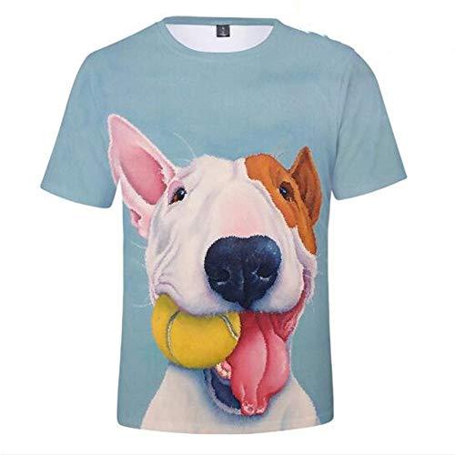 Männer Frühling Sommer Männer T-Shirts 3D Gedruckt Tier t-Shirt Kurzarm Lustige Design Casual Tops Tees Männlich,3D-Druck Cute Pets - C Blau 2XL -