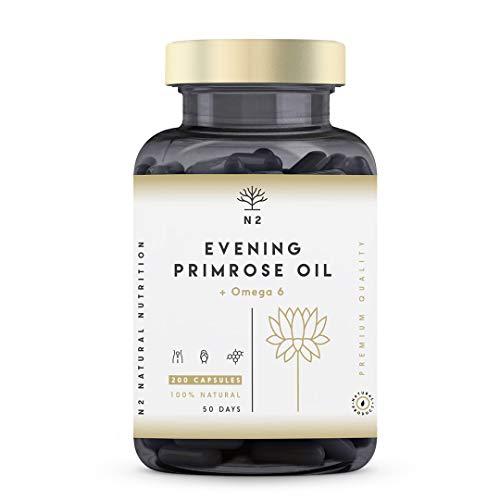 Aceite de Onagra 200 Perlas 2000mg 10% GLA con Vitamina E. Alivia Sintomas de Menopausia y Síndrome Premenstrual. Equilibrio Hormonal. Mejora Uñas y Piel. Primera Presión en Frío. N2 Natural Nutrition