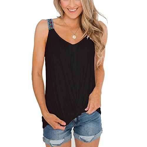Damen Kurzarm V-Ausschnitt T Shirt Sommer Tops Bluse Schwarz M -