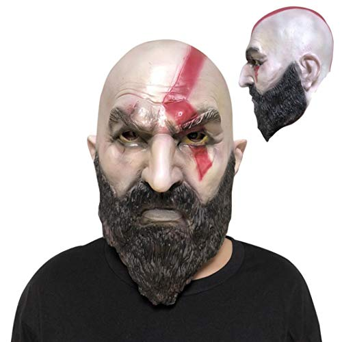 Prevently Latex Maske Horror Maske Halloween furchterregende Maske Cartoon Halloween Kostüm Party Requisiten Latex Vollkopfmaske Cosplay Kratos ()