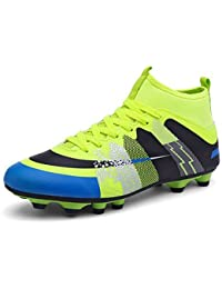 aemember Boy zapatos de Athletic comodidad de goma primavera/otoño Athletic Fútbol comodidad talón plano con cordones Royal azul verde naranja en 1en, US4 / EU36 / UK3 Big Kids, Green