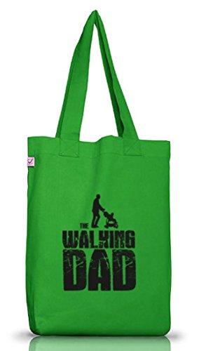 Vater Papa Jutebeutel Stoffbeutel Earth Positive mit Walking Dad Motiv Kelly Green