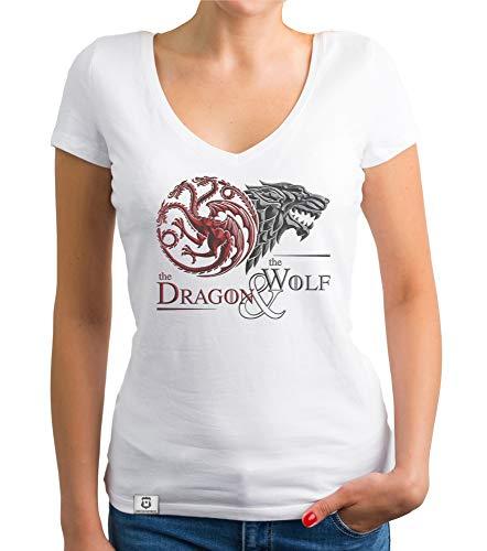 me of Thrones - Damen T-Shirt V-Ausschnitt - Dragon and Wolf Wappen Weiss-dunkelrot L ()