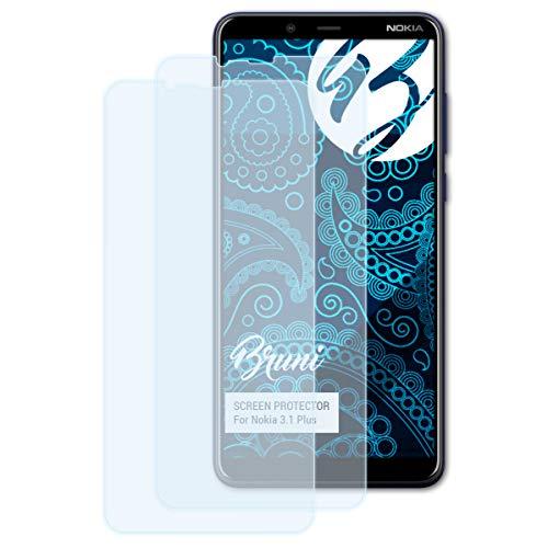 Bruni Schutzfolie für Nokia 3.1 Plus Folie, glasklare Bildschirmschutzfolie (2X)