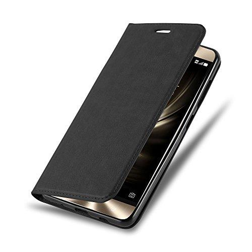 Cadorabo Hülle für ASUS ZenFone 3 Deluxe - Hülle in Nacht SCHWARZ – Handyhülle mit Magnetverschluss, Standfunktion und Kartenfach - Case Cover Schutzhülle Etui Tasche Book Klapp Style