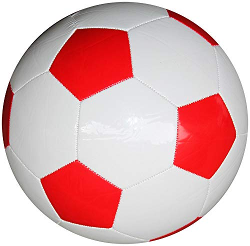 Boje Sport Fußball klassisch - PU - Farbe: rot/weiß, Gr. 5, 280 g leicht - maschinengenäht - ohne Werbeaufdruck - Ware kann leichte unsaubere Verarbeitungsspuren auf einzelnen Panelen aufweisen