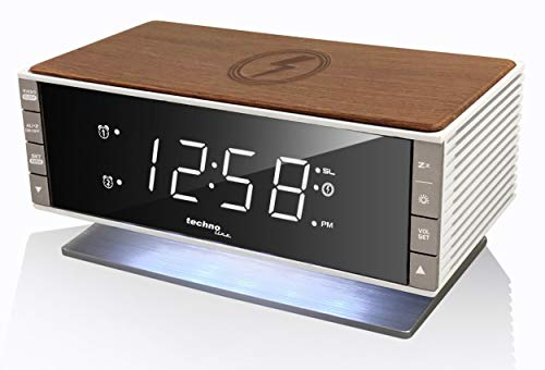 Technoline mit Ladefläche in Holz-Retro-Optik Radio Despertador Moderno WT487, Dispositivos móviles...
