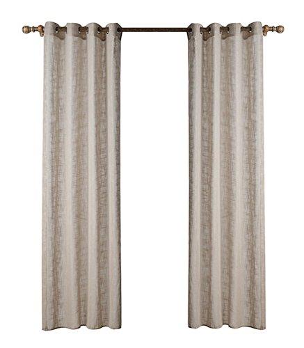 Yiyida Halb-Blackout Vorhänge mit Ösen Vorhänge Durchsichtig Gardinenschals einfarbige Gardine Voile kahki 140x160cm (Multi Star Öse)