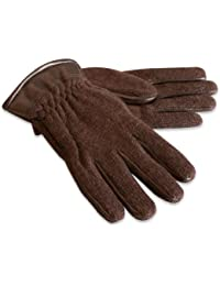 Quivano Luxury Mens Knitted Gloves With Leather Cuff and Fabric Fleece Lining for Winter # 322-200