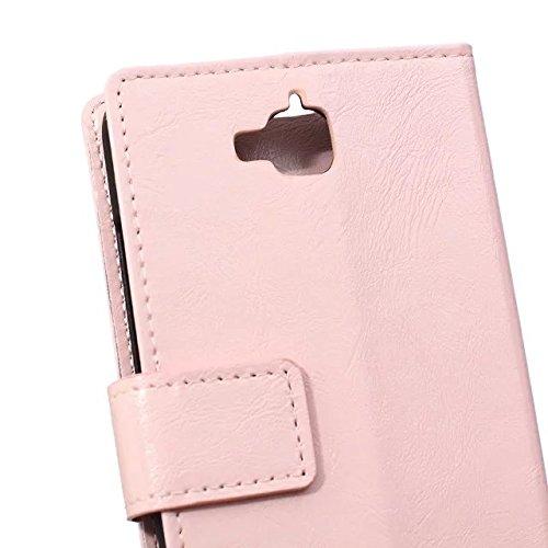 Verrückte Pferd Texture Pattern synthetische PU-ledernen Fall horizontalen Flip-Ständer Case Wallet Fall Deckung Solid Color Case für Huawei Honor Play 5X ( Color : White , Size : Huawei Honor Play 5X Pink