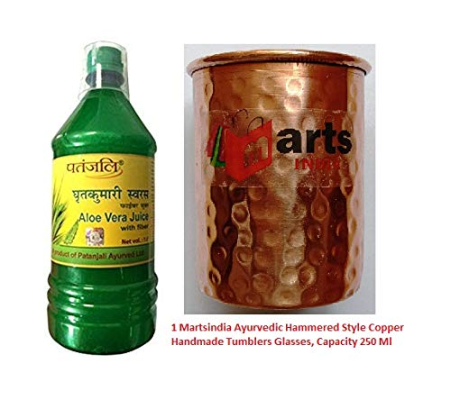 Martsindia with Patanjali Aloe Vera Juice Fiber (1 L) with 1 Ayurvedic Hammered Copper Glass