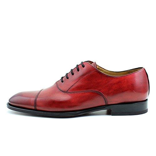 GIORGIO REA Chaussures Homme Rouge Fait à la Main en Italie, Single Boucle, Brogues, Mocassins, Boucles, Élégant, Haute Couture