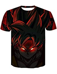 FLYCHEN Hombre Dragon Ball T-Shirt Colorful Impreso en 3D Creativo Camiseta Super Saiyan Goku