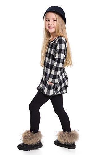 Hi! Mom WINTER KINDER LEGGINGS volle Länge Baumwolle Kinder Hose Thermische Material jedes Alter child28 - Schwarz, 134-140 (Lycra Baumwolle Leggings)
