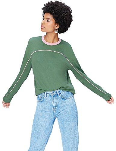 find. Sweatshirt Damen mit Kontrastnähten und Rippenbündchen, Grün (Khaki), 42 (Herstellergröße: X-Large) Khaki Damen Sweatshirt