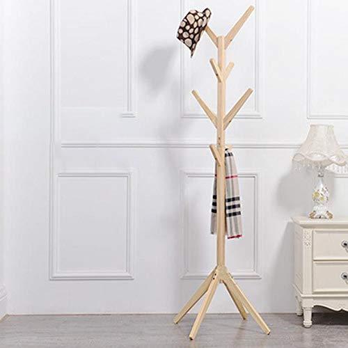 SDFGH Garderobenständer, Holz mit 8 Haken Kleidung Stehen Baum Hut Mantel Schiene Ständer Rack Kleidung Jacke Lagerung Kleiderbügel Organizer 175 cm (Farbe : B) (Ständer Kleidung Rack,)