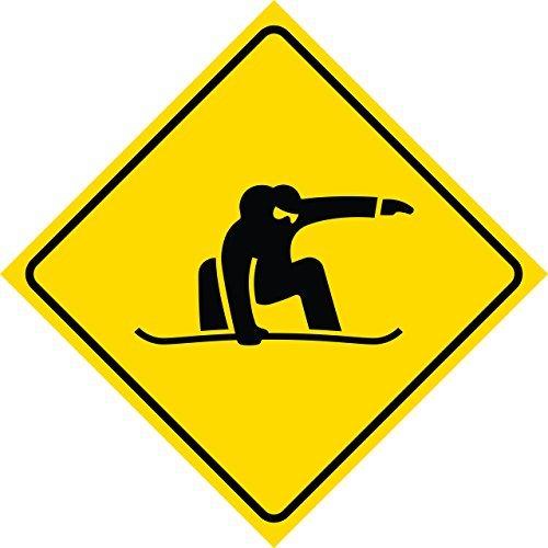 Yellow Diamond Caution Snowboarder Crossing Sign Sticker Funny Square Caution Notice Sign Vinyl 30,5 x 30,5 cm